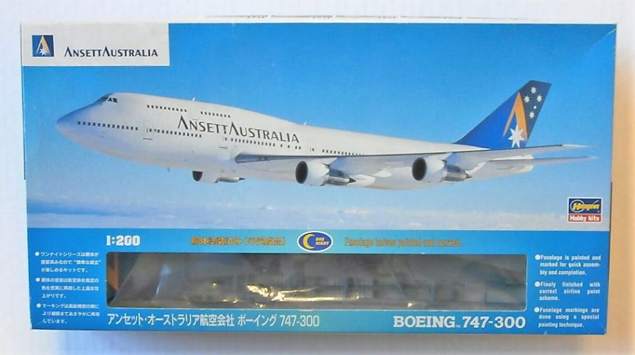 HASEGAWA 1/200 LP10 BOEING 747-300 ANSETT AUSTRALIA