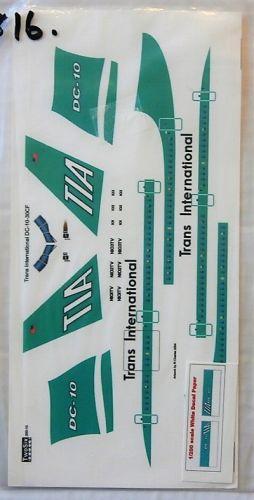 1/200 TWOSIX DECALS 1816. 200-10 TRANS INTERNATIONAL DC-10-30CF