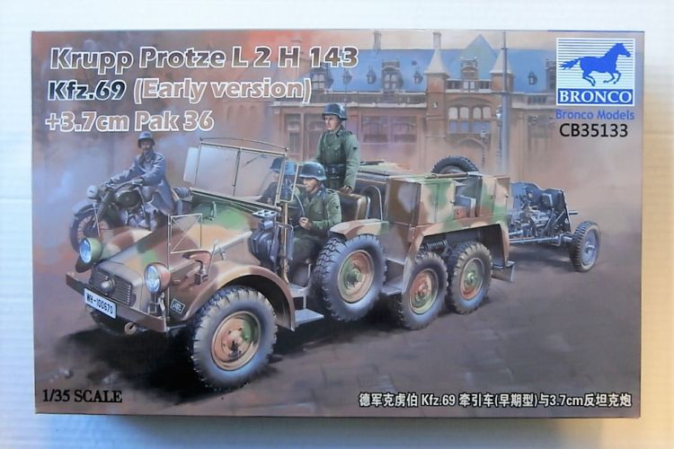 BRONCO 1/35 35133 KRUPP PROTZE L 2 H 143 Kfz.69 w/ 3.7CM PAK 36  EARLY VERSION