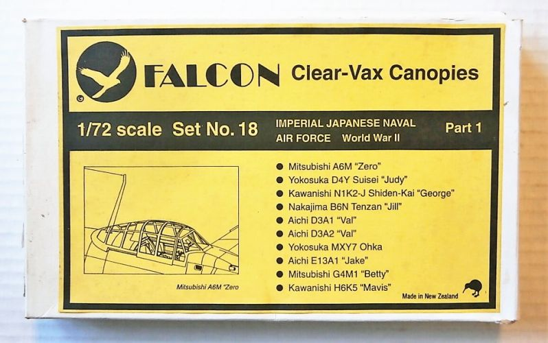 FALCON 1/72 18 IMPERIAL NAVAL AIR FORCE WWII CLEAR-VAX CANOPIES