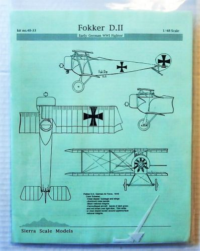 SIERRA 1/48 4833 FOKKER D.II EARLY GERMAN WWI FIGHTER