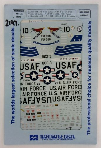 MICROSCALE 1/72 2197. 72-0407 AIRCRAFT OF THE ANG