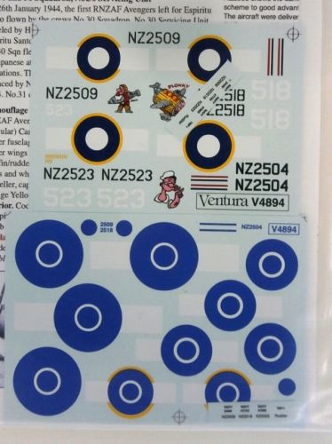 VENTURA 1/48 2187. 4894 RNZAF GRUMMAN TBF AVENGERS PACIFIC THEATRE AND POST-WAR TARGET TUG