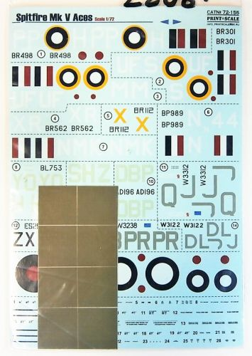 DISCOUNT DECALS 1/72 2208. PRINT SCALE 72-155 SPITFIRE MK V ACES