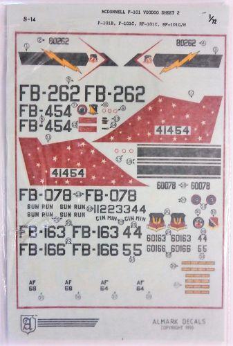 ALMARK 1/72 2210. S-14 MCDONNELL DOUGLAS F-101 VOODOO SHEET 2