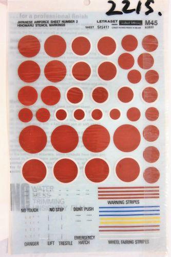 DISCOUNT DECALS  2215. M45 JAPANESE AIRFORCE SHEET NUMBER 2 HINOMARU STENCILS