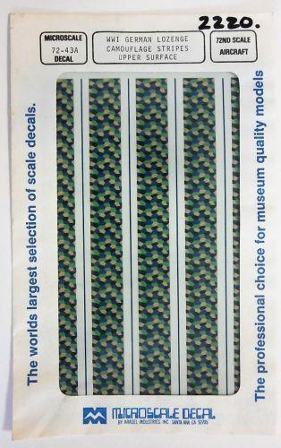 MICROSCALE 1/72 2220. 7243A WWI GERMAN LOZENGE CAMO STRIPES UPPER SURFACE