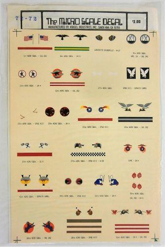 MICROSCALE 1/72 2221. 7272 U.S. WWI AERO SQUADRONS MARKINGS