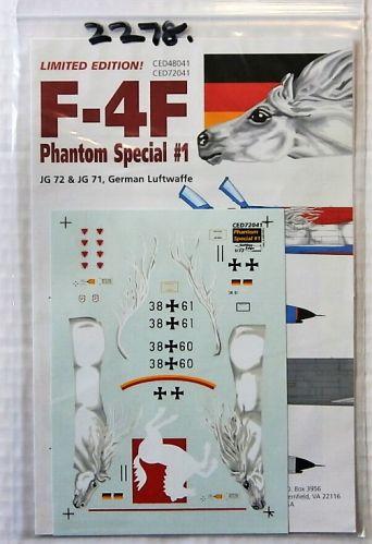 CUTTING EDGE 1/72 2278. 72041 F-4F PHANTOM SPECIAL No1 JG 72 AND JG 71 GERMAN LUFTWAFFE
