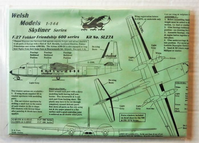 WELSH MODELS 1/144 SL27A F.27 FOKKER FRIENDSHIP 600 SERIES CHANNEL EXPRESS