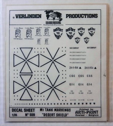 VERLINDEN PRODUCTIONS 1/35 559 M1 TANK MARKINGS DESERT SHIELD