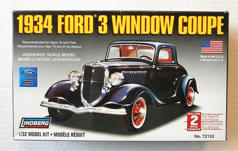 LINDBERG 1/32 72133 1934 FORD 3 WINDOW COUPE