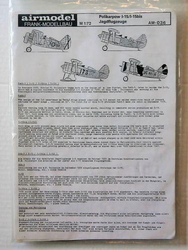 AIRMODEL 1/72 AM036 POLIKARPOV I-15/I-15bis JAGDFLUGZEUGE