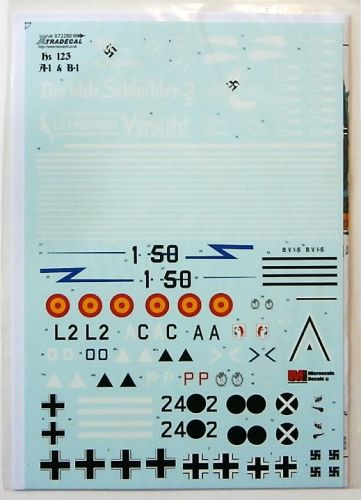XTRADECAL 1/72 72280 HENSCHEL HS 123 A1 AND B1