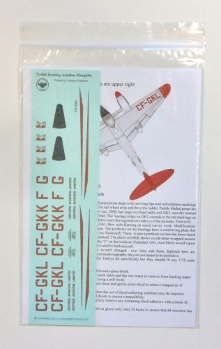 THUNDERBIRD MODELS 1/72 72-004 KENTING AVIATION ltd. DH 98 MOSQUITO