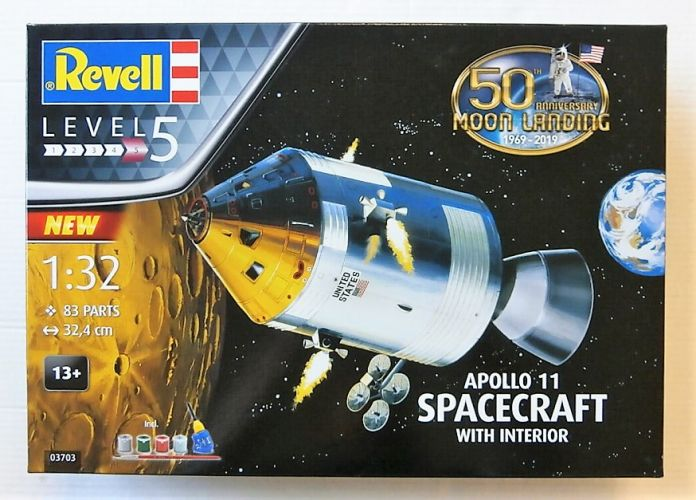 REVELL 1/32 03703 APOLLO 11 SPACECRAFT WITH INTERIOR 50TH ANNIVERSARY OF THE MOON LANDING