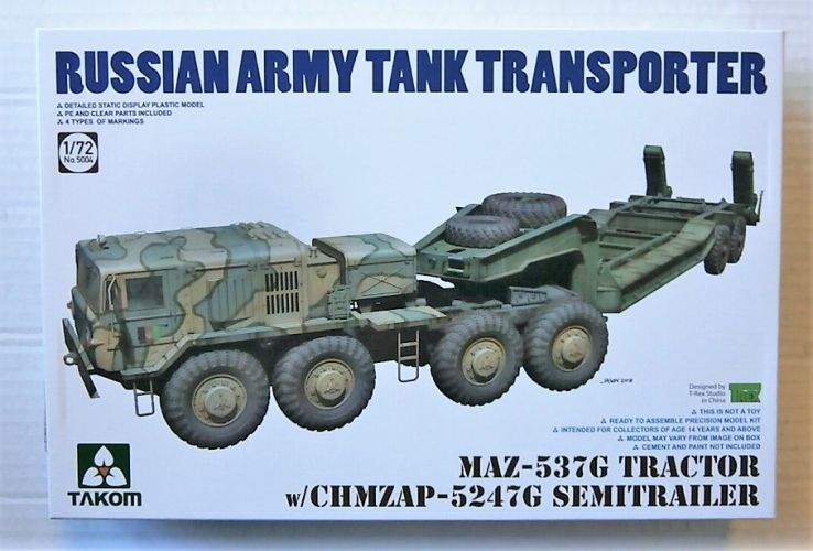 TAKOM 1/72 5004 MAZ-537G TRACTOR WITH CHMZAP-5247G SEMI-TRAILER RUSSIAN ARMY