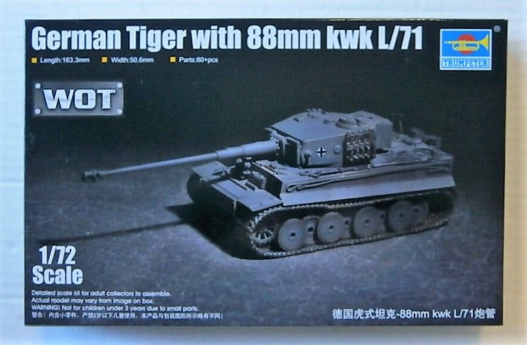 TRUMPETER 1/72 07164 GERMAN TIGER WITH 88mm kwk L/71