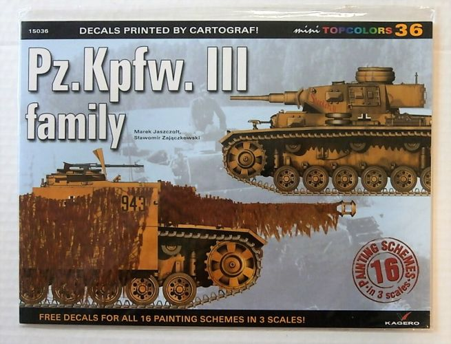 CHEAP BOOKS  ZB1825 KAGERO 36 Pz.Kpfw. III FAMILY w/DECALS