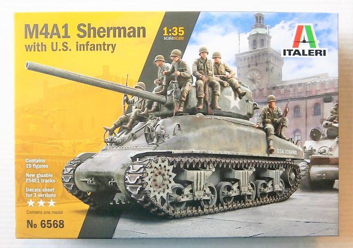 ITALERI 1/35 6568 M4A1 SHERMAN WITH U.S. INFANTRY