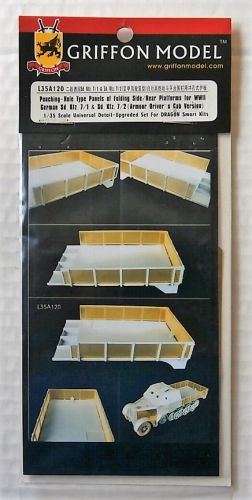 GRIFFON MODEL 1/35 L35A120 PUNCHING-HOLE TYPE PANELS OF FOLDING SIDE/REAR PLATFORMS FOR WWII GERMAN SD.KFZ.7/1/2  ARMOUR DRIVERS CAB VERSION