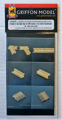 GRIFFON MODEL 1/35 L35A069 8-ROUND 3.7CM AMMO CLIPS FOR WWII GERMAN 3.7CM FLAK 43/FLAKZWILLING 43