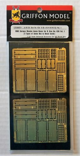 GRIFFON MODEL 1/35 L35A031 WWII GERMAN WOODEN AMMO BOXES FOR 8.8CM KW.K36 VOL.1