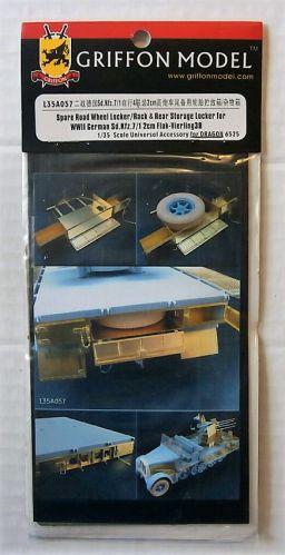 GRIFFON MODEL 1/35 L35A057 SPARE ROAD WHEEL LOCKER/RACK   REAR STORAGE LOCKER FOR WWII GERMAN SD.KFZ.7/1 2CM FLAK-VIERLING 38