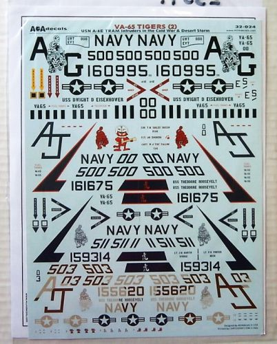1/32 2351. AOA DECALS 32-024 VA-65 TIGERS  2  USN A-6E TRAM INTRUDERS IN THE COLD WAR AND DESERT STORM