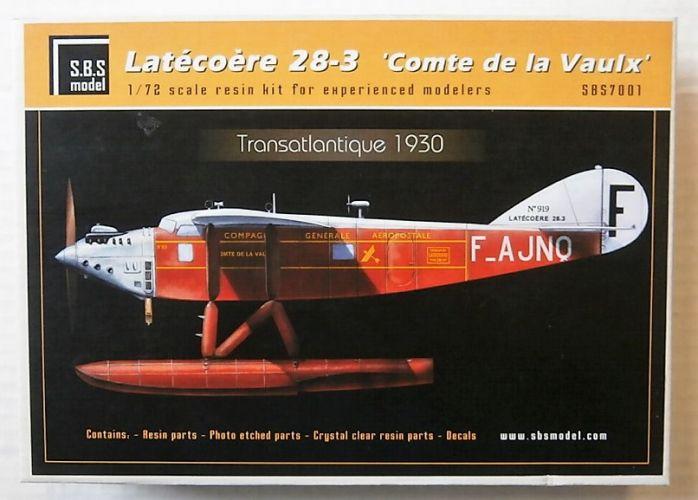 SBS MODEL 1/72 7001 LATECOERE 28-3 COMTE DE LA VAULX TRANSATLANTIC 1930