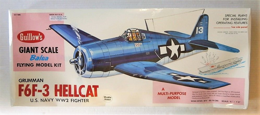 GUILLOWS 32 3/4 INCH WING SPAN 1005 GRUMMAN F6F-3 HELLCAT  UK SALE ONLY