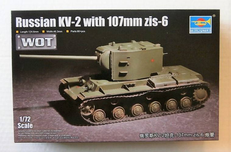 TRUMPETER 1/72 07162 RUSSIAN KV-2 WITH 107mm ZIS-6