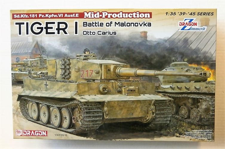 DRAGON 1/35 6888 TIGER I MID PRODUCTION WITH ZIMMERIT BATTLE OF MALONOVKA OTTO CARIUS