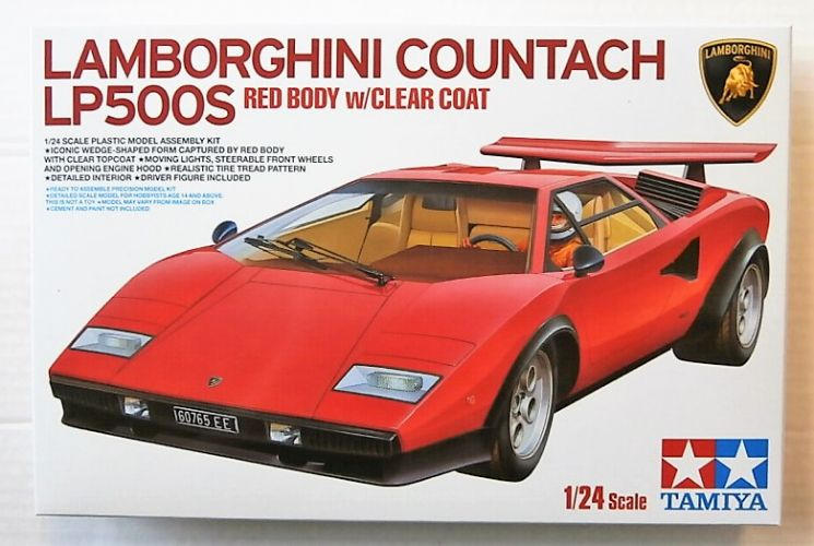 TAMIYA 1/24 25419 LAMBORGHINI COUNTACH LP500S RED BODY WITH CLEAR COAT