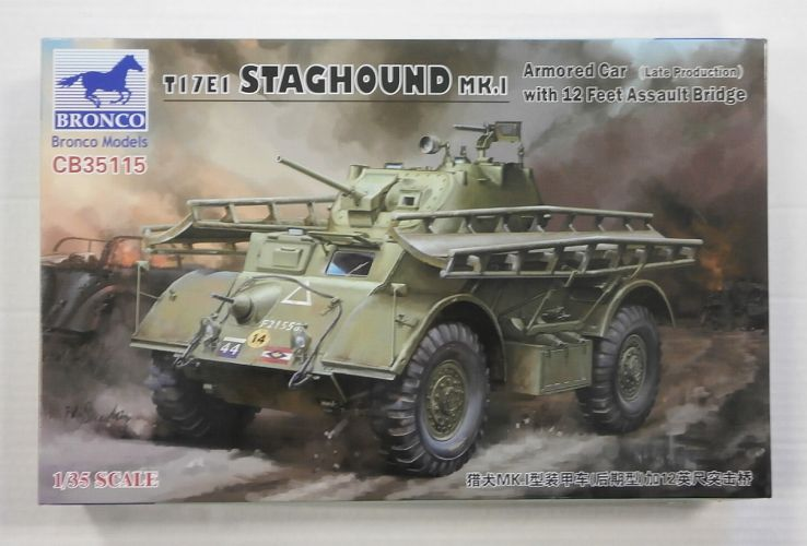 BRONCO 1/35 35115 T17E1 STAGHOUND Mk.I ARMOURED CAR  LATE  WITH 12 FEET ASSAULT BRIDGE