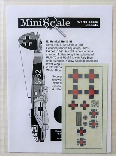 1/144 1879. MINISCALE MS-002 He111 AND Ju87D-1 SLOVAK AF 1942-1944