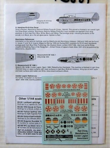 1/144 1880. MINISCALE MS-007 RED CHINA MANCHUKUO AND CONDOR LEGION ASSORTMENT