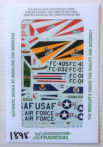 XTRADECAL 1/72 1898. X72-164 CONVAIR F-102A DELTA DART USAFE