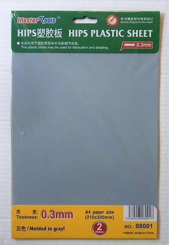 TRUMPETER  08001 0.3MM HIPS PLASTIC SHEET  210X300MM X 2