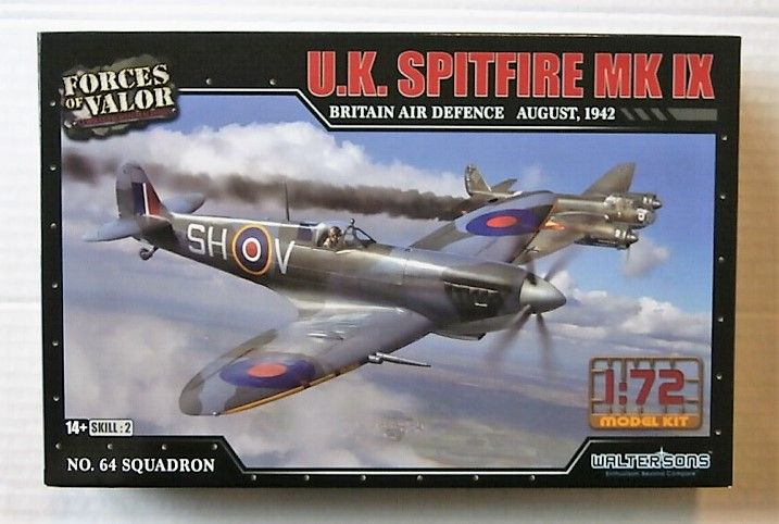 FORCES OF VALOR 1/72 873009A U.K. SPITFIRE MK.IX AUGUST 1942 NO.64 SQUADRON
