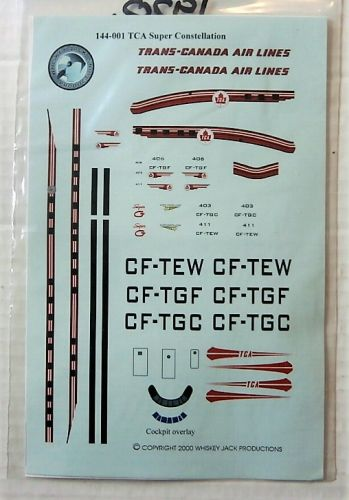 1/144 1920. WHISKEY JACK DECALS 144-001 TRANS-CANADA AIR LINES LOCKHEED CONSTELLATION 1049