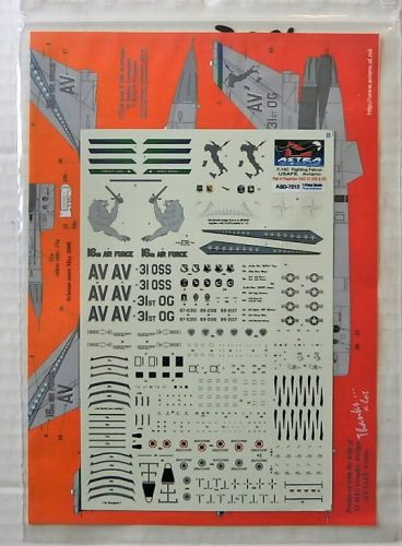 ASTRA 1/72 1925. ASD-7212 F-16C FIGHTING FALCON USAFE AVIANO PART 4 FLAGSHIPS 16AF  31 OSS AND 31 OG