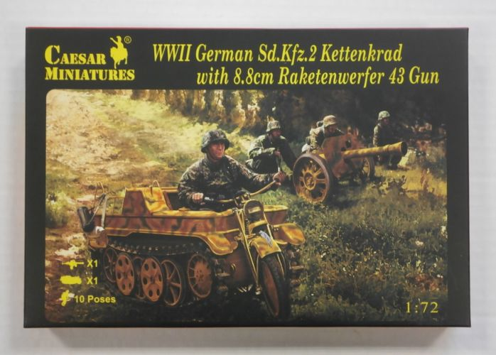 CAESAR MINATURES 1/72 H096 WWII GERMAN Sd.Kfz.2 KETTENKRAD WITH 8.8CM RAKETENWERFER 43 GUN