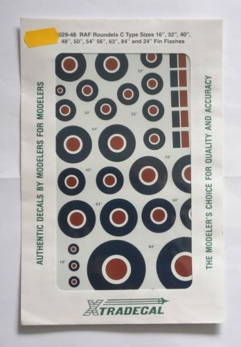 XTRADECAL 1/48 48029 RAF ROUNDELS C TYPE SIZES 16   32   40   48  50   54   56   63   84   AND 24  FIN FLASHES