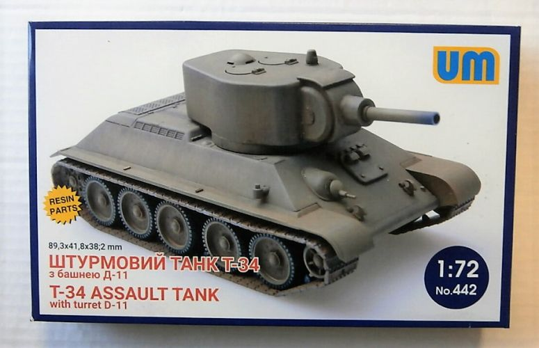UNIMODEL 1/72 442 T-34 ASSAULT TANK WITH TURRET D-11