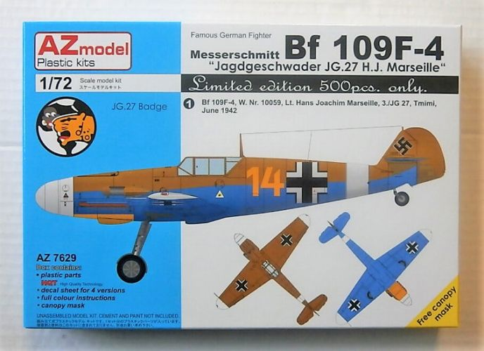 AZ MODEL 1/72 7629 MESSERSCHMITT Bf 109F-4 - JAGDGESCHWADER JG.27 H.J. MARSEILLE  LTD EDITION