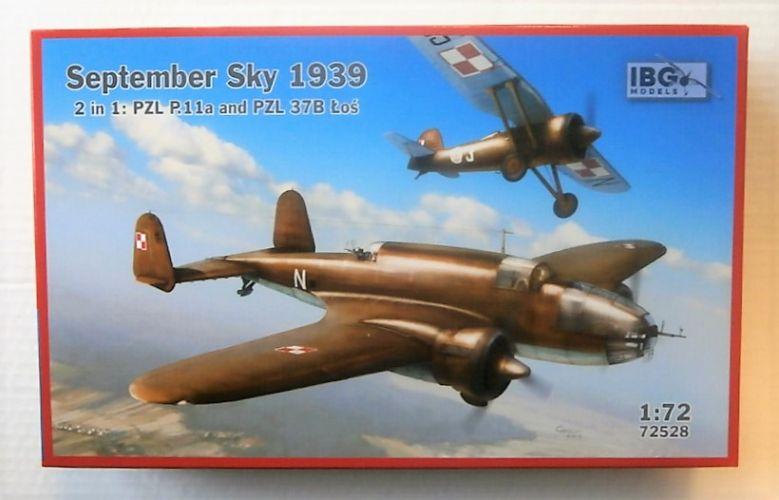 IBG MODELS 1/72 72528 SEPTEMBER SKY 1939 PZL P.11A   PZL 37B LOS