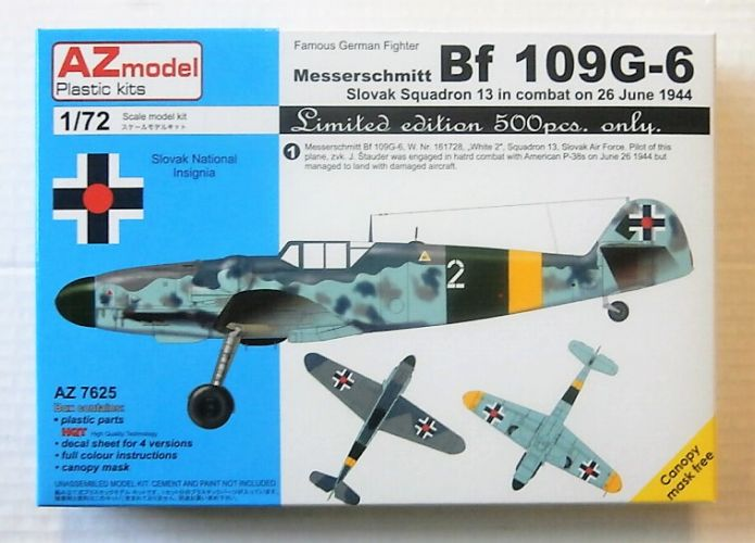 AZ MODEL 1/72 7625 MESSERSCHMITT Bf 106G-6 - SLOVAK SQUADRON 13 IN COMBAT ON 26 JUNE 1944  LTD EDITION