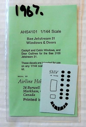 AIRLINE HOBBY SUPPLIES 1/144 1967. AHS4101 Bae JETSTREAM 31 WINDOWS AND DOORS