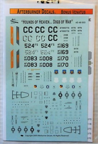 AFTERBURNER DECALS 1/48 1958. 48003 HOUNDS OF HEAVEN      DOGS OF WAR